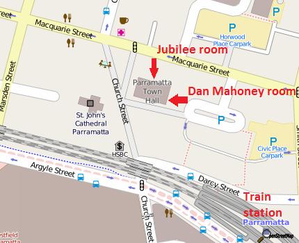 Map of Parramatta Town Hall